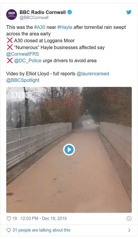 """Twitter post by @BBCCornwall: This was the #A30 near #Hayle after torrential rain swept across the area early❌ A30 closed at Loggans Moor❌ """"Numerous"""" Hayle businesses affected say @CornwallFRS ❌ @DC_Police urge drivers to avoid areaVideo by Elliot Lloyd - full reports @laurencereed @BBCSpotlight"""