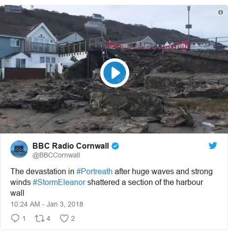 Twitter post by @BBCCornwall: The devastation in #Portreath after huge waves and strong winds #StormEleanor shattered a section of the harbour wall