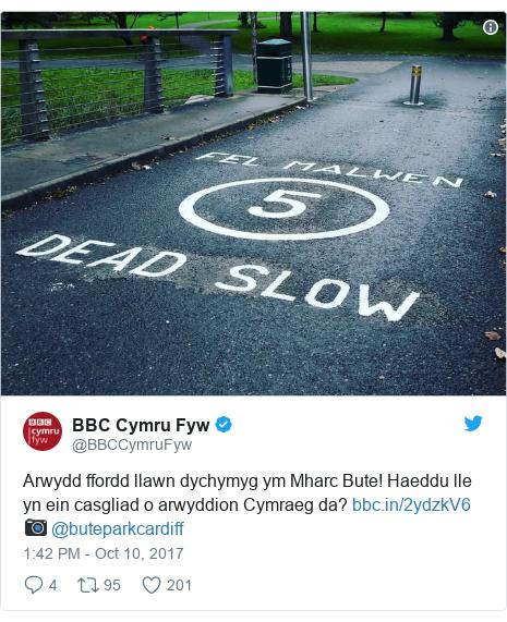 Neges Twitter gan @BBCCymruFyw: Arwydd ffordd llawn dychymyg ym Mharc Bute! Haeddu lle yn ein casgliad o arwyddion Cymraeg da?  📷 @buteparkcardiff