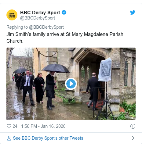 Twitter post by @BBCDerbySport: Jim Smith's family arrive at St Mary Magdalene Parish Church.