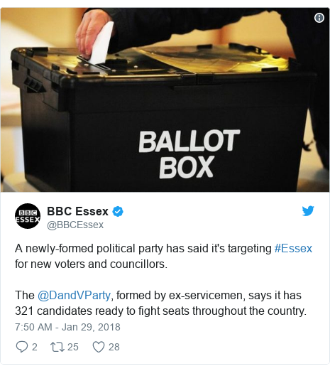 Twitter post by @BBCEssex: A newly-formed political party has said it's targeting #Essex for new voters and councillors.The @DandVParty, formed by ex-servicemen, says it has 321 candidates ready to fight seats throughout the country.