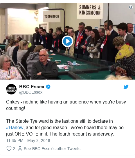 Twitter post by @BBCEssex: Crikey - nothing like having an audience when you're busy counting! The Staple Tye ward is the last one still to declare in #Harlow, and for good reason - we've heard there may be just ONE VOTE in it. The fourth recount is underway.