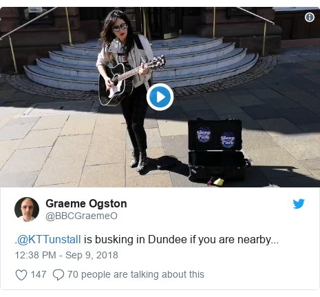 Twitter post by @BBCGraemeO: .@KTTunstall is busking in Dundee if you are nearby...