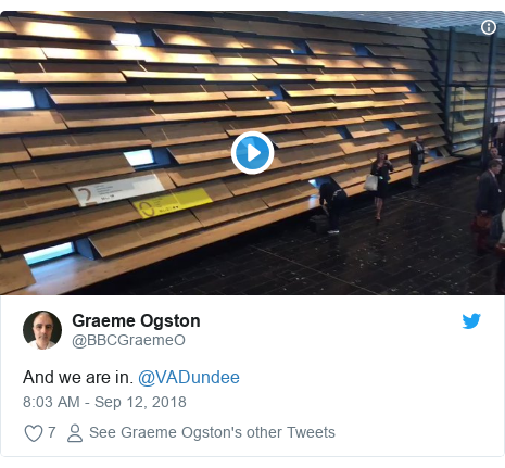 Twitter post by @BBCGraemeO: And we are in. @VADundee