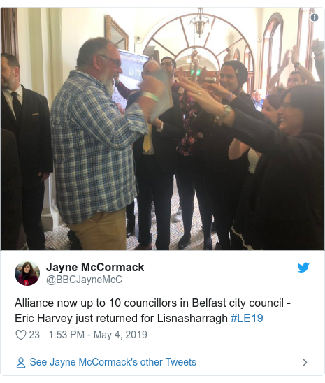 Twitter post by @BBCJayneMcC: Alliance now up to 10 councillors in Belfast city council - Eric Harvey just returned for Lisnasharragh #LE19