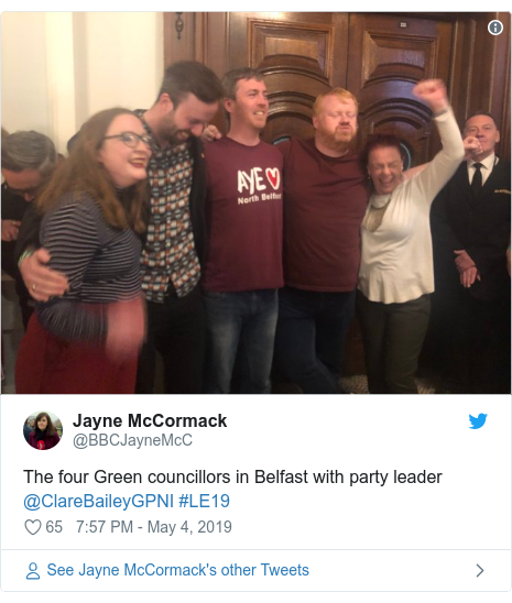 Twitter post by @BBCJayneMcC: The four Green councillors in Belfast with party leader @ClareBaileyGPNI #LE19