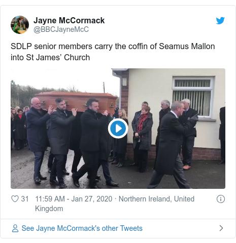 Politics Twitter post by @BBCJayneMcC: SDLP senior members carry the coffin of Seamus Mallon into St James' Church
