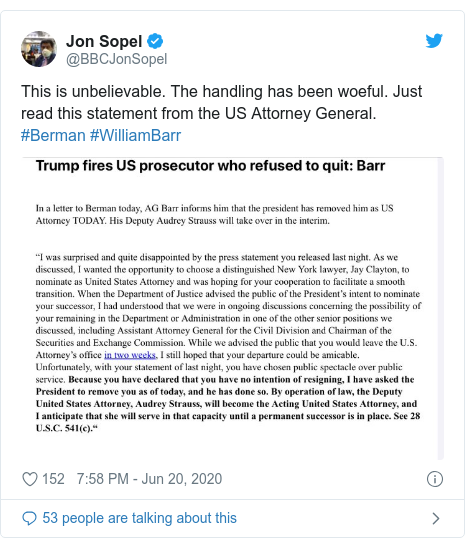 Twitter post by @BBCJonSopel: This is unbelievable. The handling has been woeful. Just read this statement from the US Attorney General. #Berman #WilliamBarr