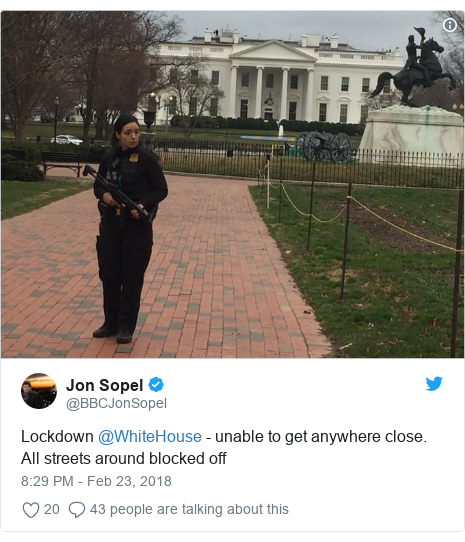 Twitter post by @BBCJonSopel: Lockdown @WhiteHouse - unable to get anywhere close. All streets around blocked off