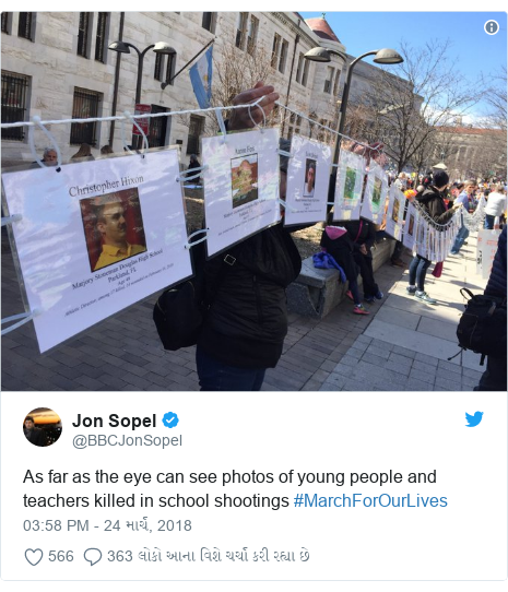 Twitter post by @BBCJonSopel: As far as the eye can see photos of young people and teachers killed in school shootings #MarchForOurLives