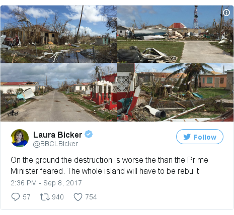 Twitter post by @BBCLBicker: On the ground the destruction is worse the than the Prime Minister feared. The whole island will have to be rebuilt pic.twitter.com/W6kkQUPSgf
