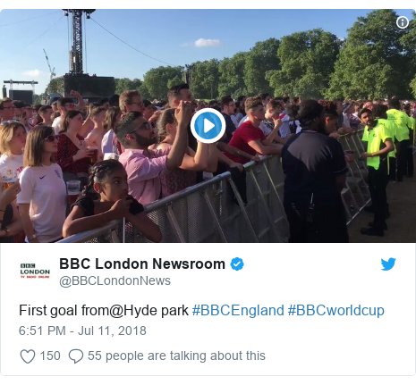 Twitter post by @BBCLondonNews: First goal from@Hyde park #BBCEngland #BBCworldcup