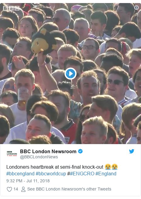 Twitter post by @BBCLondonNews: Londoners heartbreak at semi-final knock-out 😭😭#bbcengland #bbcworldcup ##ENGCRO #England