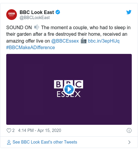 Twitter post by @BBCLookEast: SOUND ON 🔉 The moment a couple, who had to sleep in their garden after a fire destroyed their home, received an amazing offer live on @BBCEssex 📻  #BBCMakeADifference