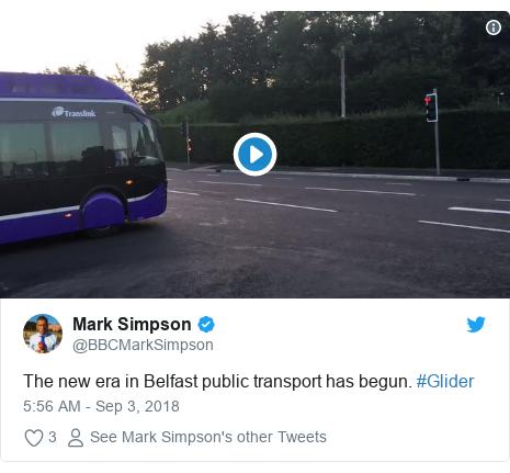 Twitter post by @BBCMarkSimpson: The new era in Belfast public transport has begun. #Glider
