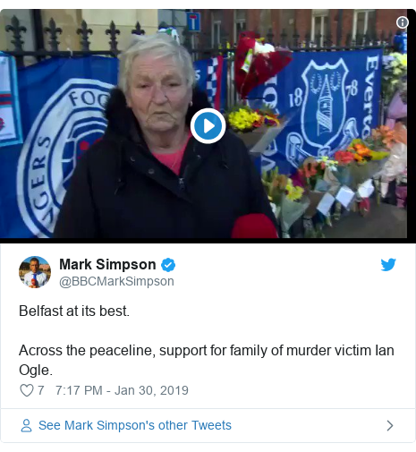 Twitter post by @BBCMarkSimpson: Belfast at its best. Across the peaceline, support for family of murder victim Ian Ogle.