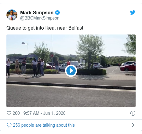 Twitter post by @BBCMarkSimpson: Queue to get into Ikea, near Belfast.