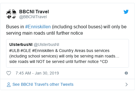 Twitter post by @BBCNITravel: Buses in #Enniskillen (including school buses) will only be serving main roads until further notice