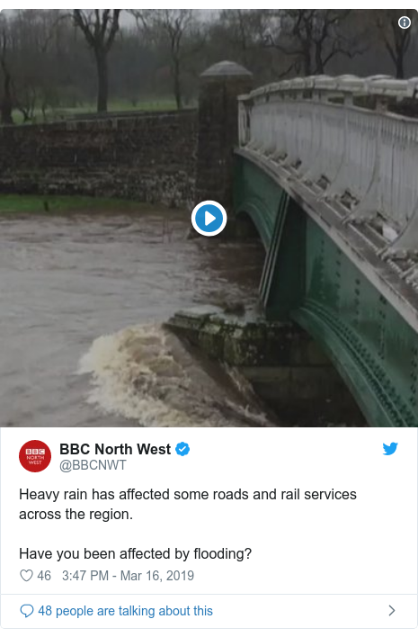 Twitter post by @BBCNWT: Heavy rain has affected some roads and rail services across the region.Have you been affected by flooding?