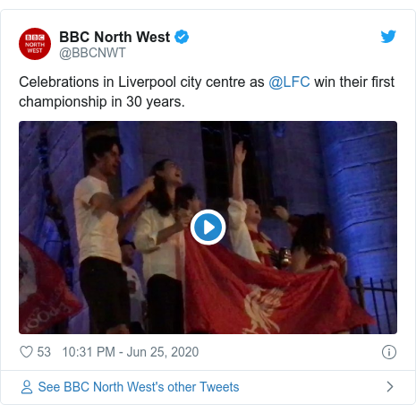 Twitter post by @BBCNWT: Celebrations in Liverpool city centre as @LFC win their first championship in 30 years.