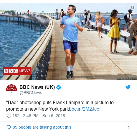 """Twitter post by @BBCNews: """"Bad"""" photoshop puts Frank Lampard in a picture to promote a new New York park"""
