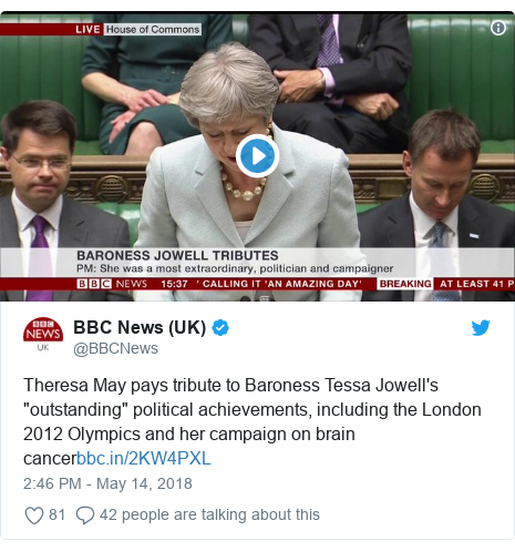 "Twitter post by @BBCNews: Theresa May pays tribute to Baroness Tessa Jowell's ""outstanding"" political achievements, including the London 2012 Olympics and her campaign on brain cancer"