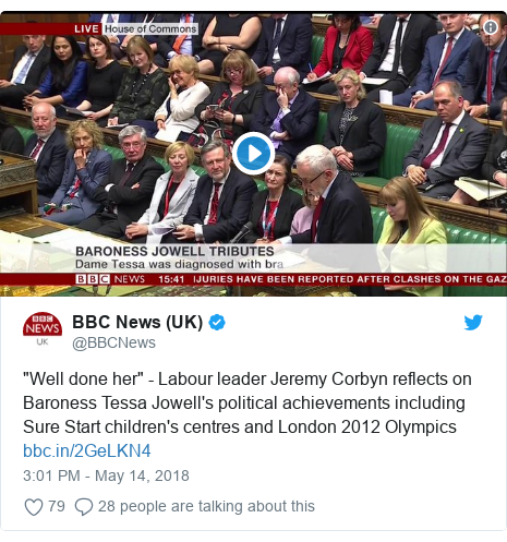 "Twitter post by @BBCNews: ""Well done her"" - Labour leader Jeremy Corbyn reflects on Baroness Tessa Jowell's political achievements including Sure Start children's centres and London 2012 Olympics"