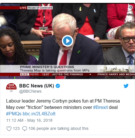 """Twitter post by @BBCNews: Labour leader Jeremy Corbyn pokes fun at PM Theresa May over """"friction"""" between ministers over #Brexit deal #PMQs"""