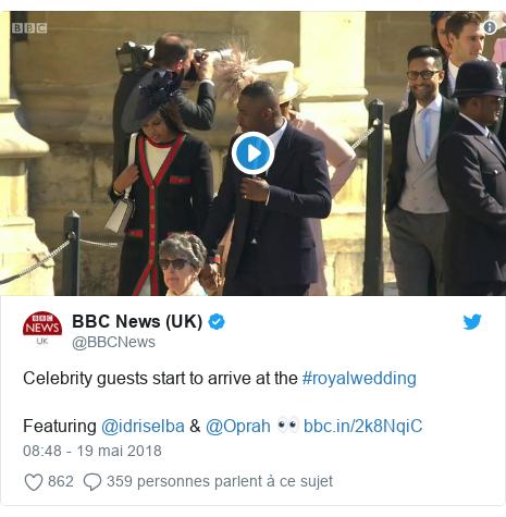 Twitter publication par @BBCNews: Celebrity guests start to arrive at the #royalwedding Featuring @idriselba & @Oprah 👀