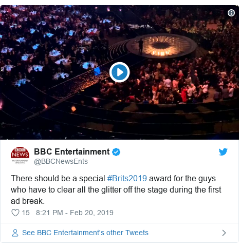 Twitter post by @BBCNewsEnts: There should be a special #Brits2019 award for the guys who have to clear all the glitter off the stage during the first ad break.