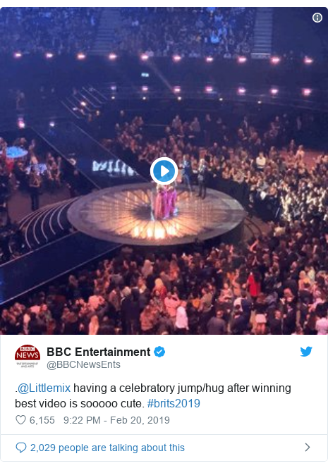 Twitter post by @BBCNewsEnts: .@Littlemix having a celebratory jump/hug after winning best video is sooooo cute. #brits2019