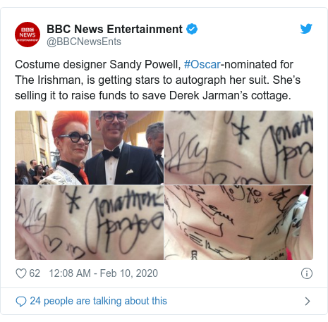 Twitter post by @BBCNewsEnts: Costume designer Sandy Powell, #Oscar-nominated for The Irishman, is getting stars to autograph her suit. She's selling it to raise funds to save Derek Jarman's cottage.