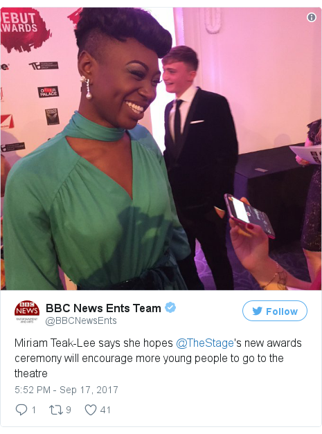 Twitter post by @BBCNewsEnts: Miriam Teak-Lee says she hopes @TheStage's new awards ceremony will encourage more young people to go to the theatre pic.twitter.com/VlzEnnwQRv