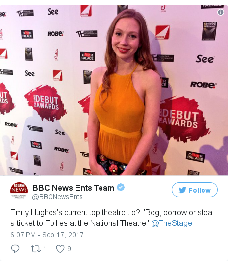 """Twitter post by @BBCNewsEnts: Emily Hughes's current top theatre tip? """"Beg, borrow or steal a ticket to Follies at the National Theatre"""" @TheStage pic.twitter.com/EHyziKajoy"""