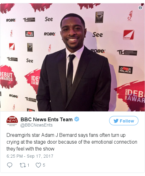 Twitter post by @BBCNewsEnts: Dreamgirls star Adam J Bernard says fans often turn up crying at the stage door because of the emotional connection they feel with the show pic.twitter.com/DD8ShNOFN6