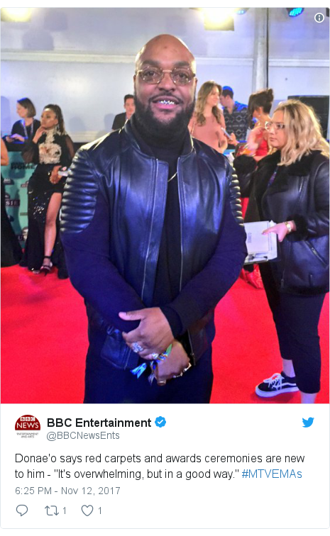 """Twitter post by @BBCNewsEnts: Donae'o says red carpets and awards ceremonies are new to him - """"It's overwhelming, but in a good way."""" #MTVEMAs"""