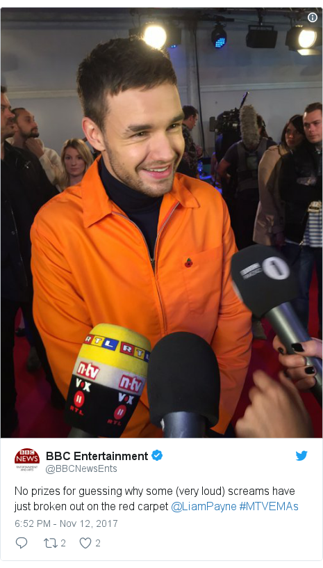 Twitter post by @BBCNewsEnts: No prizes for guessing why some (very loud) screams have just broken out on the red carpet @LiamPayne #MTVEMAs