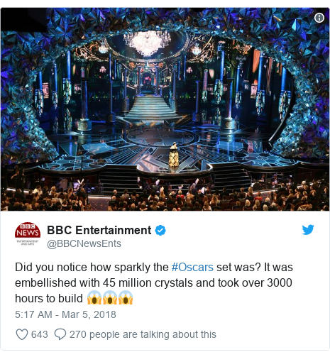 Twitter post by @BBCNewsEnts: Did you notice how sparkly the #Oscars set was? It was embellished with 45 million crystals and took over 3000 hours to build 😱😱😱