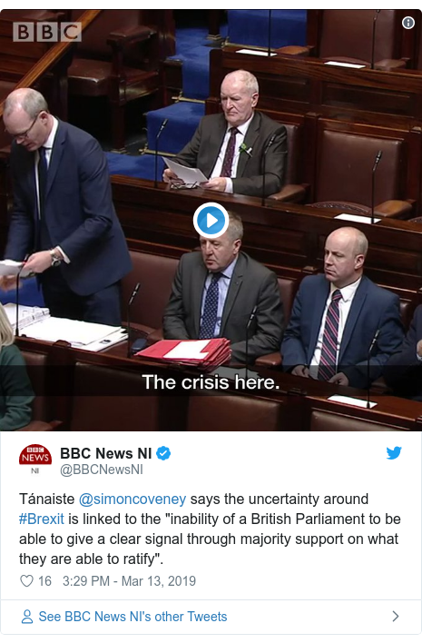 "Twitter post by @BBCNewsNI: Tánaiste @simoncoveney says the uncertainty around #Brexit is linked to the ""inability of a British Parliament to be able to give a clear signal through majority support on what they are able to ratify""."