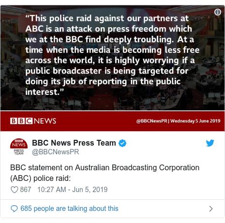 Twitter post by @BBCNewsPR: BBC statement on Australian Broadcasting Corporation (ABC) police raid