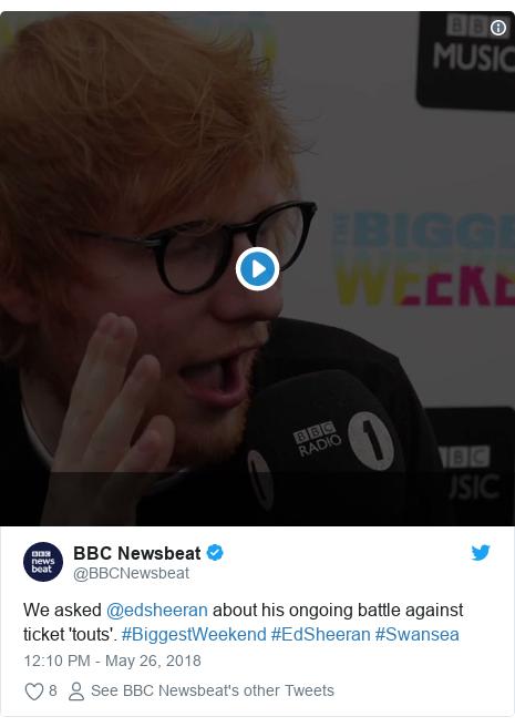 Twitter post by @BBCNewsbeat: We asked @edsheeran about his ongoing battle against ticket 'touts'. #BiggestWeekend #EdSheeran #Swansea