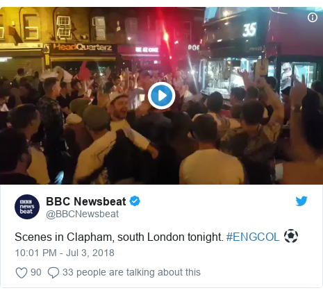 Twitter post by @BBCNewsbeat: Scenes in Clapham, south London tonight. #ENGCOL ⚽️