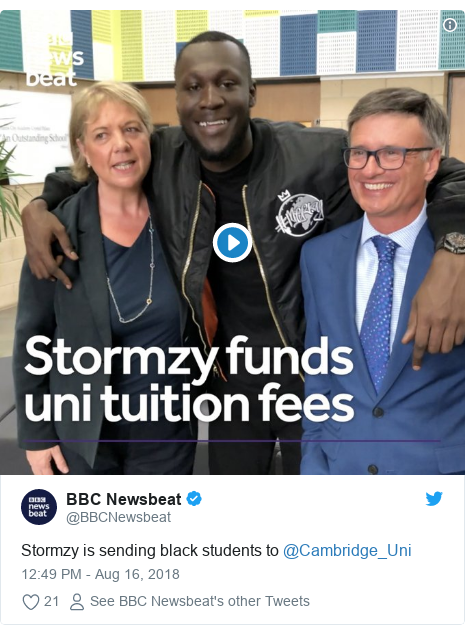 Twitter post by @BBCNewsbeat: Stormzy is sending black students to @Cambridge_Uni