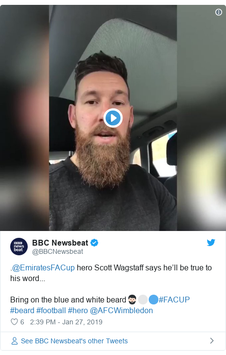 Twitter post by @BBCNewsbeat: .@EmiratesFACup hero Scott Wagstaff says he'll be true to his word...Bring on the blue and white beard🧔🏻⚪️🔵#FACUP #beard #football #hero @AFCWimbledon