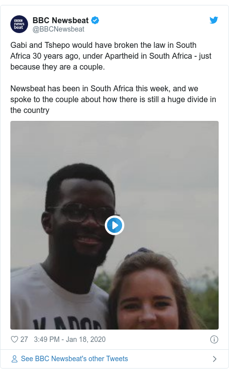 Twitter post by @BBCNewsbeat: Gabi and Tshepo would have broken the law in South Africa 30 years ago, under Apartheid in South Africa - just because they are a couple.Newsbeat has been in South Africa this week, and we spoke to the couple about how there is still a huge divide in the country