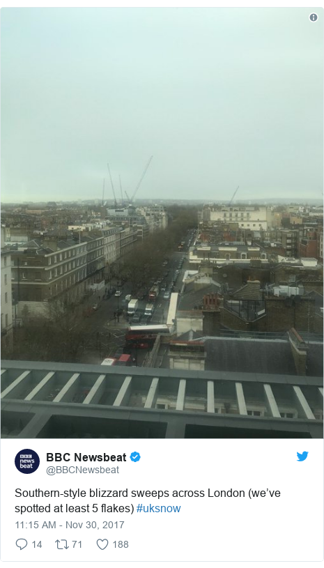 Twitter post by @BBCNewsbeat: Southern-style blizzard sweeps across London (we've spotted at least 5 flakes) #uksnow