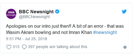 Twitter post by @BBCNewsnight: Apologies on our intro just then!! A bit of an error - that was Wasim Akram bowling and not Imran Khan #newsnight