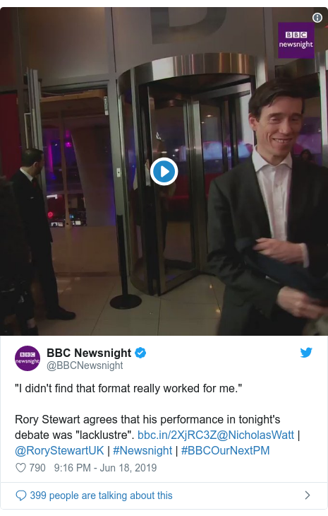 Twitter post by @BBCNewsnight: we didn't find that format unequivocally worked for me.Rory Stewart agrees that his opening in tonight's discuss was lacklustre. @NicholasWatt | @RoryStewartUK | #Newsnight | #BBCOurNextPM