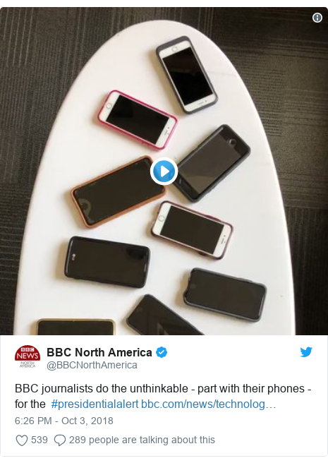 Twitter post by @BBCNorthAmerica: BBC journalists do the unthinkable - part with their phones - for the  #presidentialalert