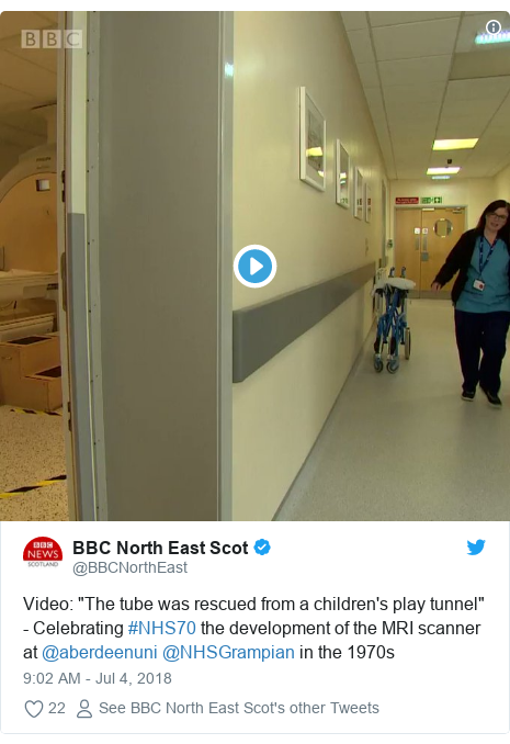 "Twitter post by @BBCNorthEast: Video  ""The tube was rescued from a children's play tunnel"" - Celebrating #NHS70 the development of the MRI scanner at @aberdeenuni @NHSGrampian in the 1970s"